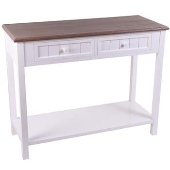 Console bois blanc 2 tiroirs ETRETAT