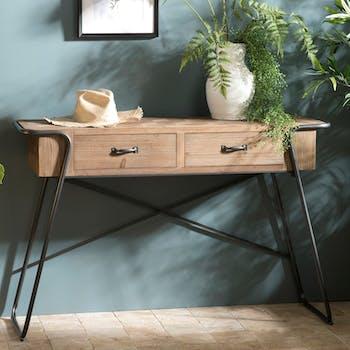 Pier Import console bois sapin et métal plateau en marqueterie 2 tiroirs style scandinave industriel BOSTON