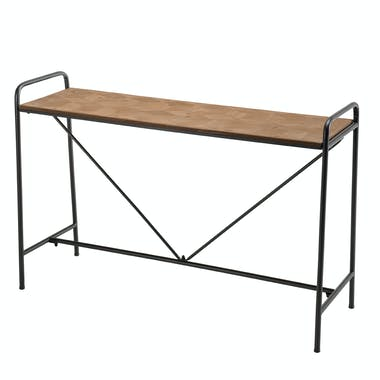 Pier Import console style scandinave industriel bois sapin naturel et métal plateau en marqueterie 120cm BOSTON