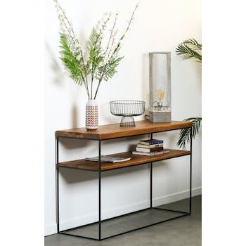 Console bois et métal double plateau OKA 120 cm