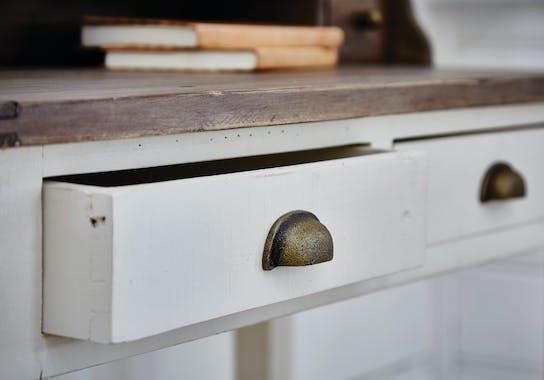 Console bois recyclé blanche 2 tiroirs BRISTOL