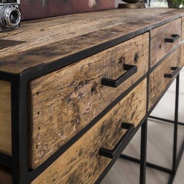Console bois recyclé brut acier 6 tiroirs WELLINGTON