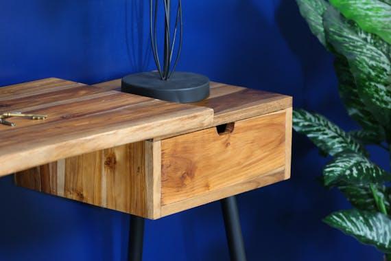Console bureau bois de teck