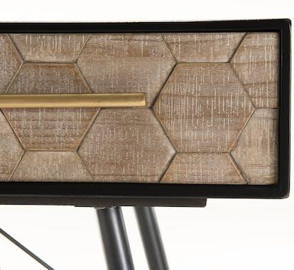 Pier Import console d'entrée en bois et métal style vintage motif nid d'abeilles contour noir 120cm RIGA