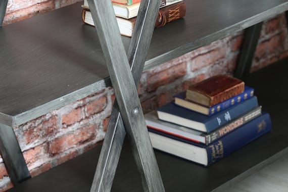 Console en métal gris 3 étagères 175x44x90cm