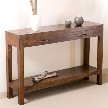 Console exotique bois acajou avec tiroirs 120cm LOLA