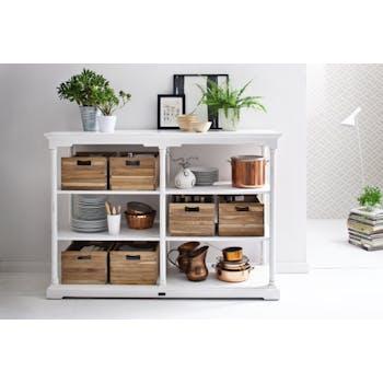 Console haute / Dressoir 4 niveaux bois blanc, 6 caisses en bois 160x112cm ROYAN