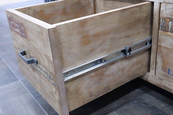Console hévéa recyclé blanchi et métal noirci 2 plateaux 100X25X80cm DOCKER