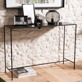 Pier Import console style industriel métal noir aspect épuré plateau 110x35cm LIVERPOOL