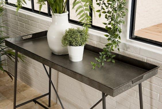 Pier Import console en métal zinc style industriel plateau gris 112cm BOSTON
