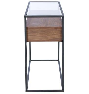Console moderne bois de noyer verre TORONTO
