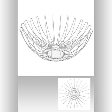 Corbeille ronde en métal double fil D38xH16,5cm
