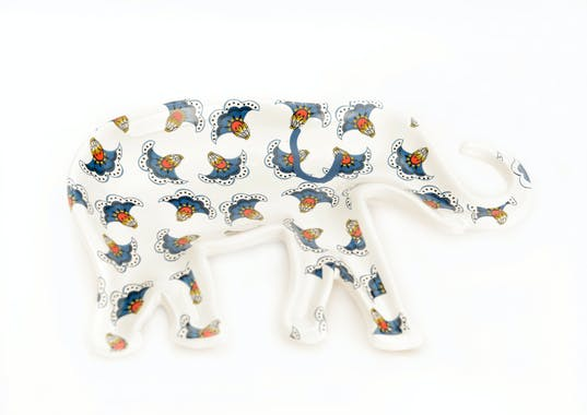 Coupe / Plateau éléphant décoré tons bleus