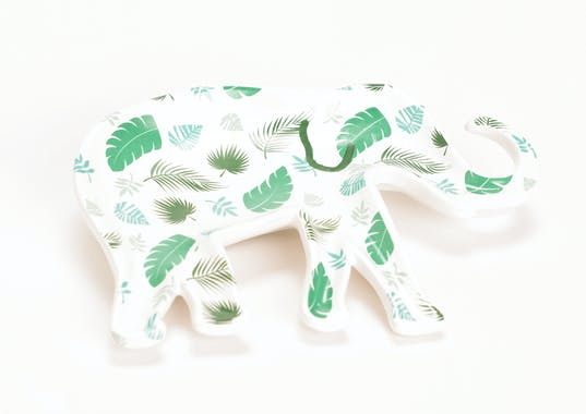 Coupe / Plateau éléphant décoré tons verts