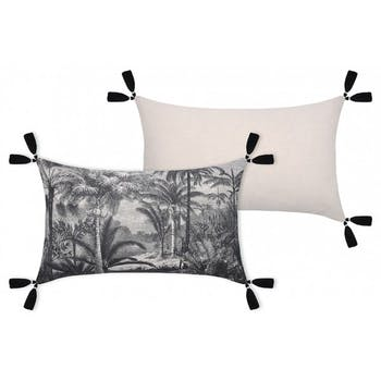 Coussin 30x50 paysage exotique noir et blanc avec pompons