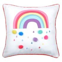 Coussin arc-en-ciel à pompons multicolores 40x40