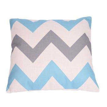 Coussin blanc à rayures en zig zag bleu et gris 45x45cm