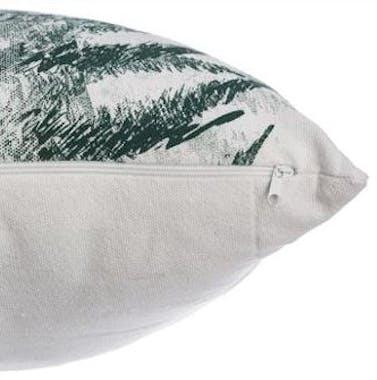 Coussin blanc imprimé fougères vert et gris 45x45cm