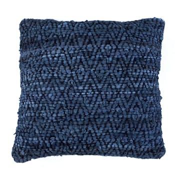 Coussin bleu profond motif diamant