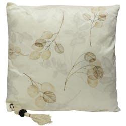 Coussin carré blanc motif feuilles et pompon