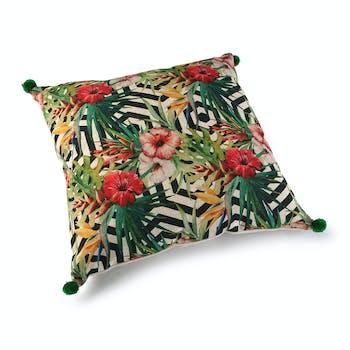 Coussin carré épais à pompons en tissu coloré motif fleurs et feuilles 45x15x45cm