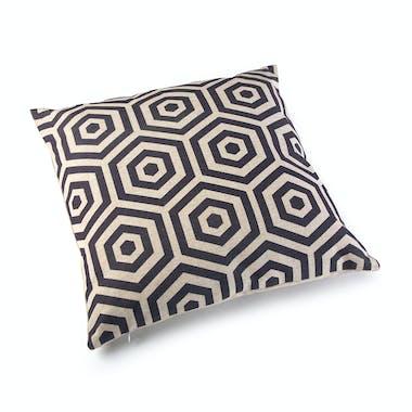 Coussin carré épais tissu beige à motifs losanges gris foncés 45x15x45cm