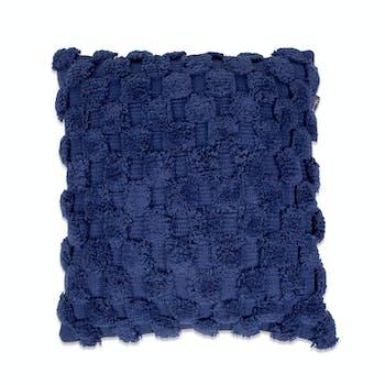 Coussin de canapé bleu foncé damier en relief
