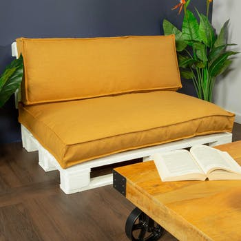 Coussin de palette extérieur couleur jaune