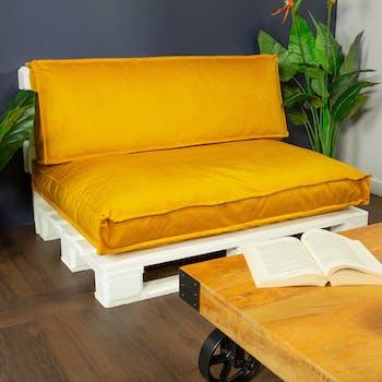 Coussin de palette extérieur jaune moutarde