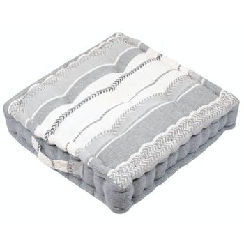 Coussin de sol à bandes grises 45 x 45 cm