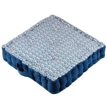 Coussin de sol bleu à motifs bleus 45 x 45 cm