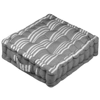 Coussin de sol gris à rayures