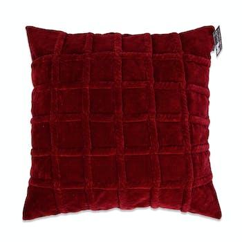 Coussin en velours rouge damier