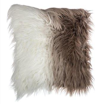 Coussin façon fourrure dégradé marron et blanc 45x45cm