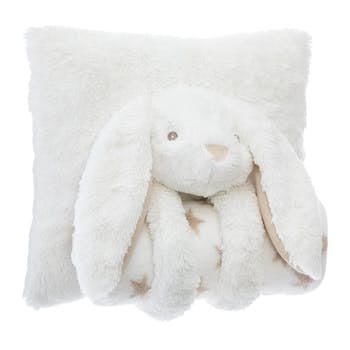 Coussin lapin plaid blanc