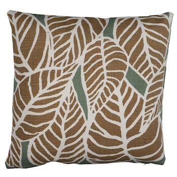 Coussin motif feuilles dorées 50 x 50 cm