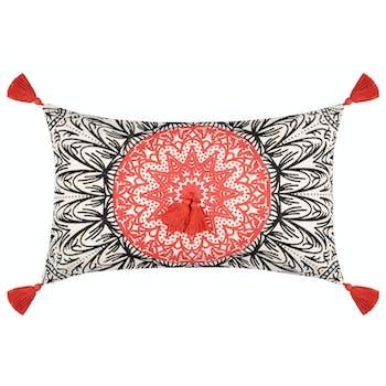 Coussin motifs ethniques terracotta à pompons 30 x 50 cm