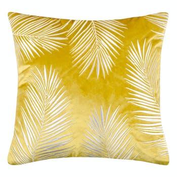 Coussin moutarde motif feuilles dorées 45 x 45 cm