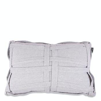 Coussin rectangulaire gris clair avec tressage tissu