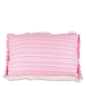 Coussin rectangulaire rayures roses et franges