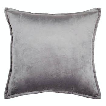 Coussin velours gris à passepoil 40 x 40 cm