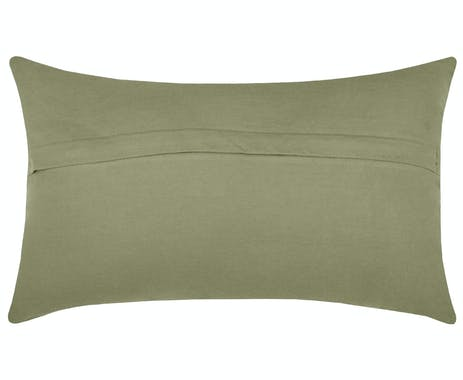 Coussin velours kaki à bandes relief 30 x 50 cm