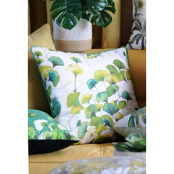 Coussin XL feuilles de gingko naturel-vert