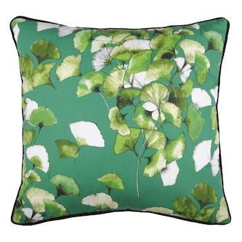 Coussin XL feuilles de gingko vert-noir