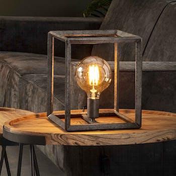 Cube lumineux industriel finition argent vieilli RALF