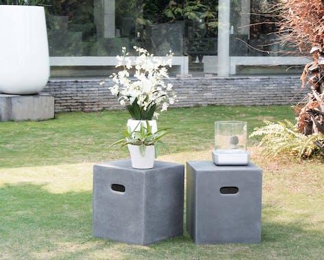 Cube - Pouf de jardin Aspect Béton 40xx40x45cm HERCULE