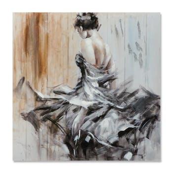 DANSE 100x100 Peinture acrylique carrée Noir, Beige avec effet pailleté