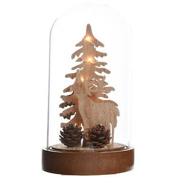 Décor de Noël sous cloche à LED sapin et renne