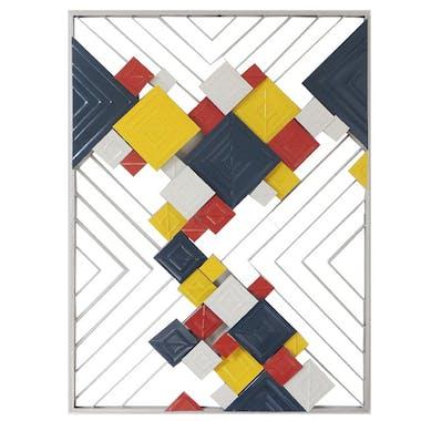 Décoration murale abstraite carrés rouges noirs jaunes