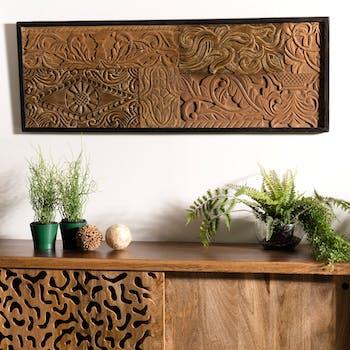 Décoration murale bois de teck recyclé motifs OTTAWA